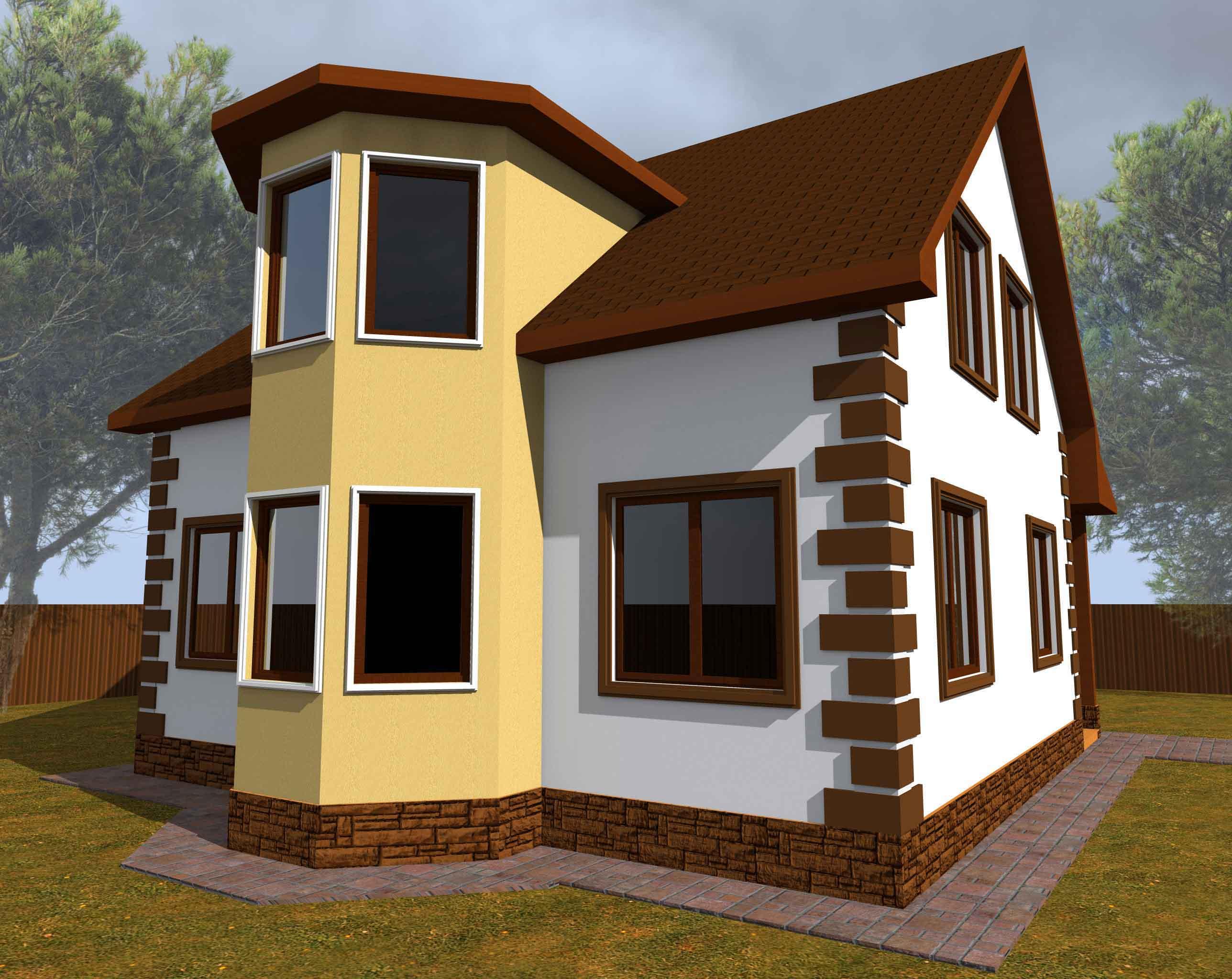 Проект каркасного дома 163 квадратных метра фасад