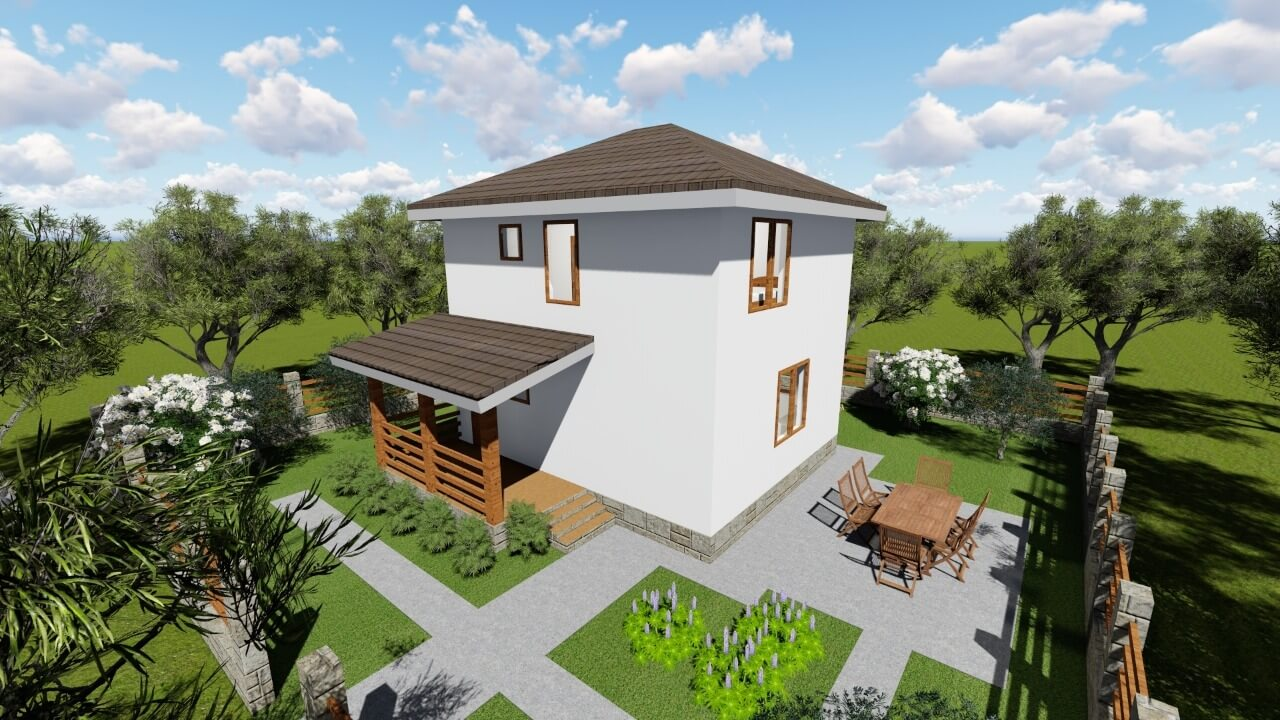 Проект каркасного дома 84 кв м